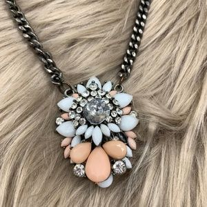 Jewelry - Floral Gem and Stone Cluster Necklace